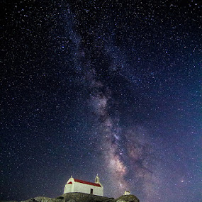 Holy Way by Luca Libralato - Landscapes Starscapes ( mykonos, church, stars, greece, milky way,  )