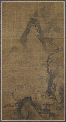 Landscape: mountain and water; a figure under a plum tree
