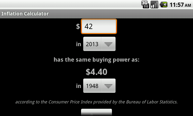 Cpi inflation calculator android apps on google play - Bureau of labor statistics consumer price index ...