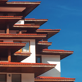 Roofs by MIhail Syarov - Buildings & Architecture Architectural Detail ( roof, sky, red, blue, roofs, pamporovo, bulgaria )