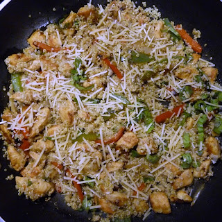 Garlic Chicken Stir Fry with Quinoa, Peppers and Basil.