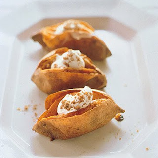 Baked Sweet Potatoes With Sour Cream and Brown Sugar.