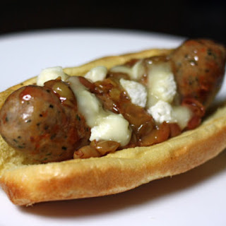 Grilled Italian Sausages with Roasted Grapes and Sheep's Milk Cheese
