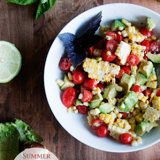 Summer Harvest Salad - Tomatoes, Grilled Corn and Avocados.
