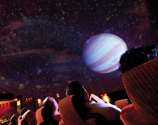 Sit back with your family members and gaze at the stars and planets on an exhilarating virtual ride into outer space at Queen Mary 2's full-scale Planetarium.