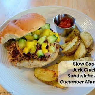 Slow Cooker Jerk Chicken Sandwiches with Cucumber Mango Salsa.