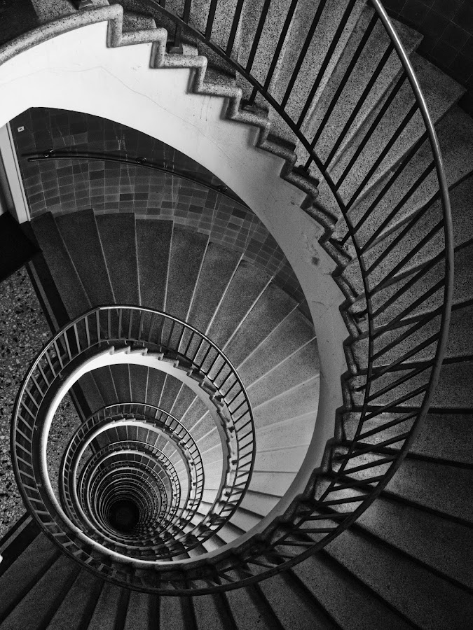 Spiral Staircase by Matevz Skerget - Black & White Buildings & Architecture ( building, staircase, bw, spiral )