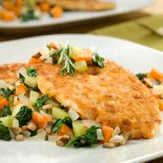 Savory Breaded Turkey Cutlets With Stuffing Salsa.