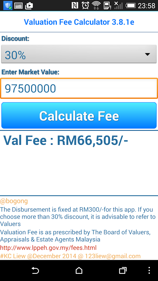 lkc valuation fee calculator