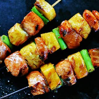 Salmon Teriyaki Skewers with Pineapple.