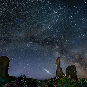 Balanced Rock and the Milky Way by Jerry Patterson - Landscapes Starscapes ( 5dmiii, moab, canon, patterson, utah, stars, balanced rock, nigh sky, 5dm3, long exposure, milky way )