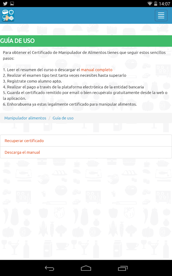 Carn manipulador de alimentos android apps on google play - Preguntas examen manipulador de alimentos ...