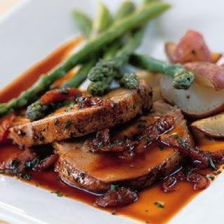 Roast Pork with Apricot Demi-Glace.