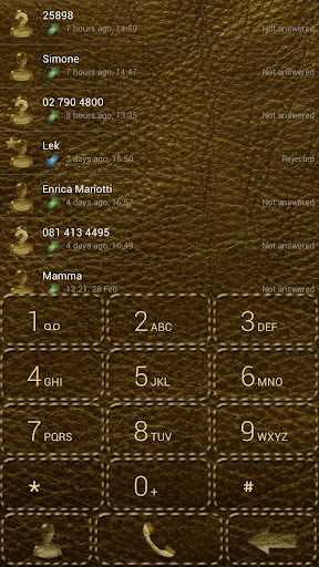 Dialer Leather Gold theme