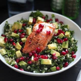 Superfood Salad with Pan-Seared Salmon.