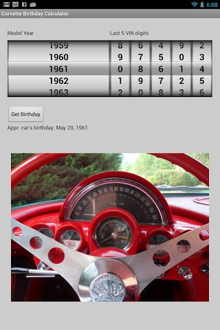 Corvette Birthday Calculator