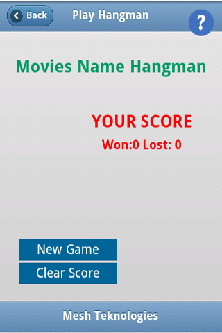 Movies Names Hangman- screenshot