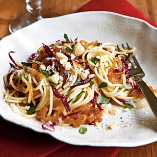 Spaghetti with Caramelized Onion and Radicchio