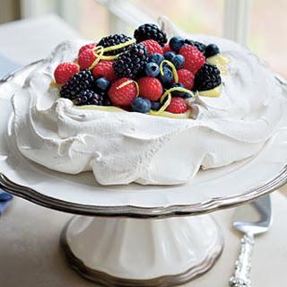 Pavlova With Lemon Cream and Berries.
