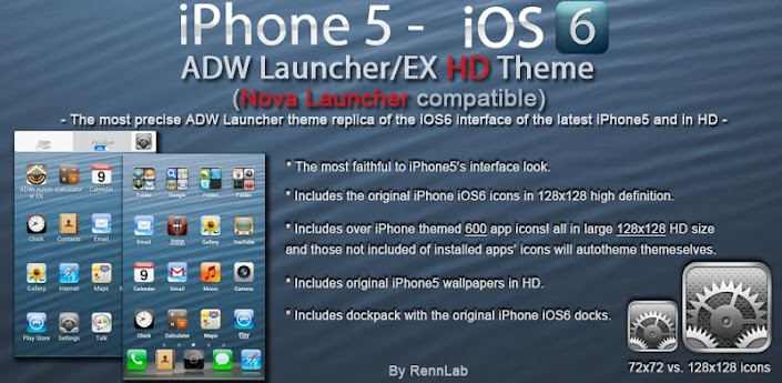 iPhone 5 iOS6 ADW & NOVA Theme apk