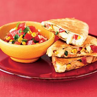 Chicken Quesadillas With Roasted Corn Salsa.