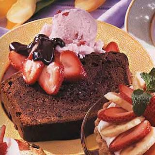 Chocolate Pound Cake with Strawberry Ice Cream and Bittersweet Chocolate Sauce