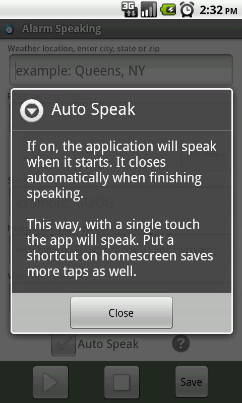 Alarm Speaking- screenshot