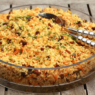 Bulgur Salad with Carrots, Mint, and Raisins.
