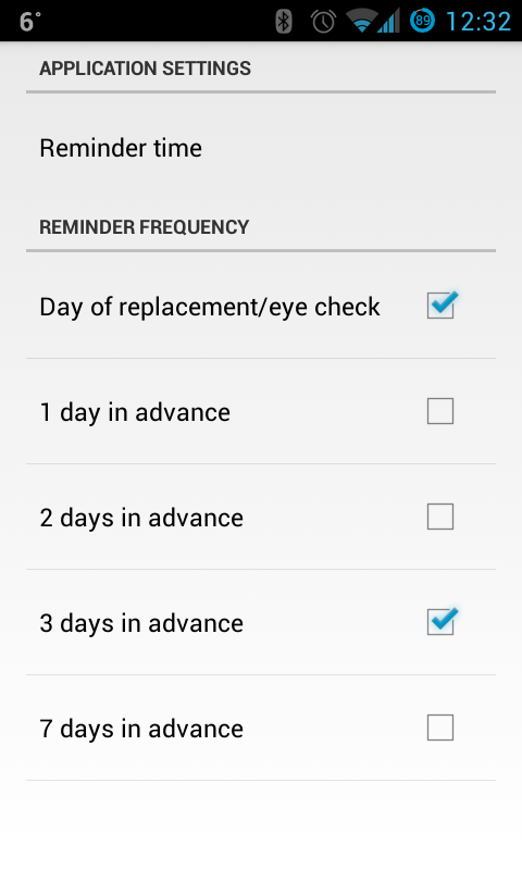 OTTO contact lenses reminder- screenshot