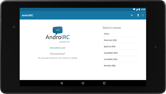 AndroIRC- screenshot thumbnail