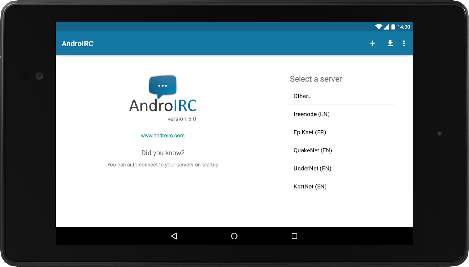 AndroIRC- screenshot