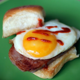 Spam and Egg Breakfast Sandwiches.