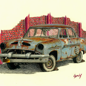 Baby Blue by Lew Davis - Drawing All Drawing ( sketch, old, old car, rusty, pencil drawings, lew davis, antique cars, antique car, drawing, pencil, drawings, blue, sketches, pencil drawing, rust, old cars, antique, , land, device, transportation )