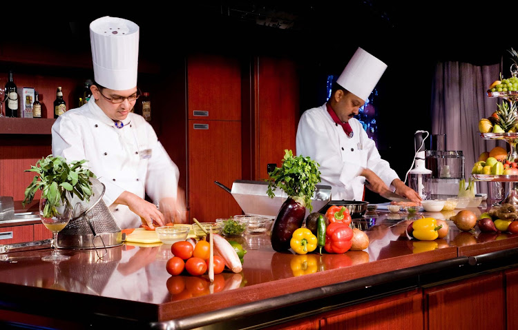 Holland America Line's Culinary Arts Centers is where intimate, hands-on classes are generally freestyle and cruisers can do as much or as little as they wish while preparing dishes under the chef's supervision.