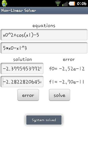 Non-Linear Equations Solver