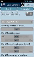 Screenshot of Universal Lotto Generator