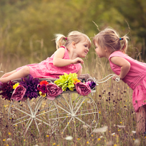 Lauren & Hollie by Claire Conybeare - Chinchilla Photography - Babies & Children Toddlers ( girls, grass, natural environment, children, cart, toddlers, cute, pretty, twins, love, little girls, england, nature, family, outdoors, summer, pink, flowers,  )