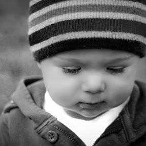 Christian Michael by Michael Shaffer - Babies & Children Babies ( thinking, black and white, infant, beanie, baby, deep thought,  )