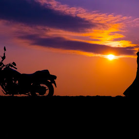 Colour my sunset sky by Pritam Sen - Transportation Motorcycles ( bike, sky, shadow, sunset, silhouette, shape, travel, shadows, travel photography )
