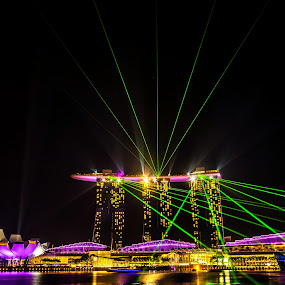 Light Show by Jijo George - Buildings & Architecture Office Buildings & Hotels ( marina bay sands hotel, urban scene, famous place, singapore )