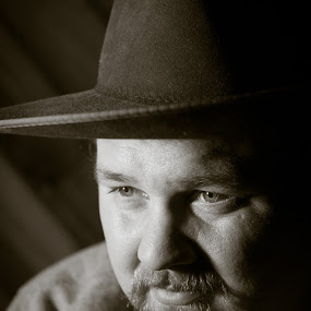 Chris in Cowboy Hat by Kelly Maize - People Portraits of Men ( cowboy, b&w, black and white, man, portrait )