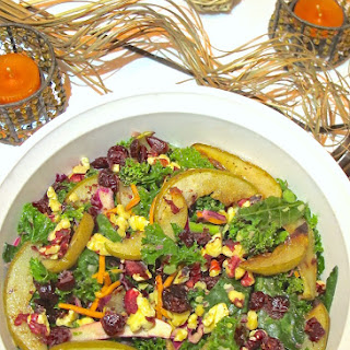 Fall Harvest Roasted Pear and Kale Salad