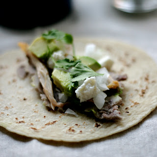 Chicken Tacos with Mashed Pinto Beans.