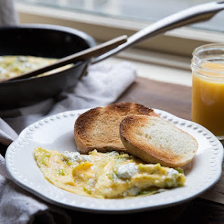 Soft Scrambled Eggs With Goat Cheese And Leeks