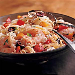 Pasta Salad with Shrimp, Peppers, and Olives.