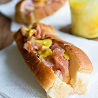 Chopped Ham and Cheese Rolls with Creamy Mustard Sauce