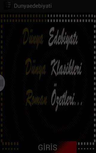 ROMAN ÖZETLERİ DÜNYA KLASİKLER
