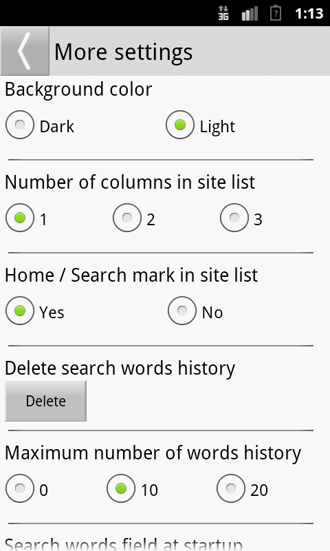 Search Selection- screenshot