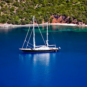 Sailboat anchored in Kefalonia island,Greece by Giannis Paraschou - Novices Only Landscapes ( sailboat anchored, kefalonia greece, sailboat anchored in kefalonia island greece, color, colors, landscape, portrait, object, filter forge,  )