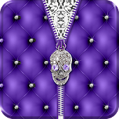 Punk Skull Theme Purple Zipper